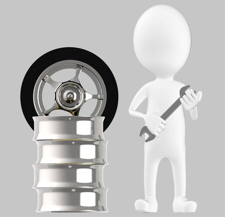 3d white character , holding wrench standing near to tyre rim -grey background- 3d rendering Imagens