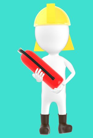 3d white character wearing a safety helmet and holding a fire extinguisher in hand -turquoise background- 3d rendering