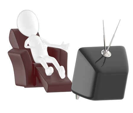 3d character , man lying on sofa and watching television- 3d rendering