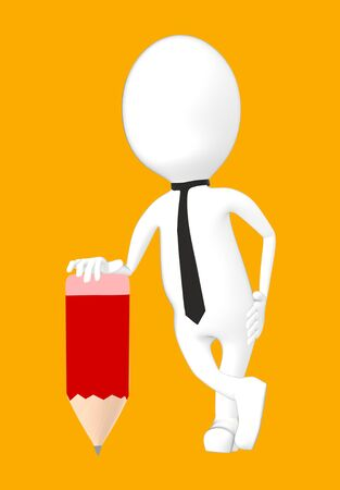3d white character with a pencil -orange background- 3d rendering