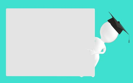 3d white character , graduated character pointing his hands towards a empty board -turquoise background- 3d rendering