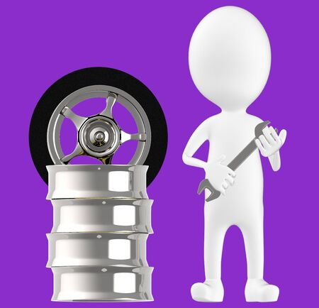 3d white character , holding wrench standing near to tyre rim -purple background- 3d rendering Imagens - 134049699