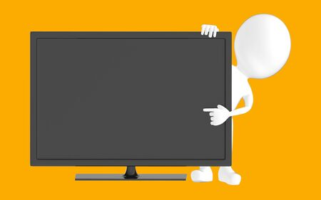 3d white character , pointing his hand towards television screen -orange background- 3d rendering Zdjęcie Seryjne