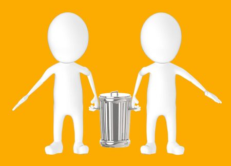 3d white character - two character carrying recycle bin -orange background- 3d rendering Фото со стока