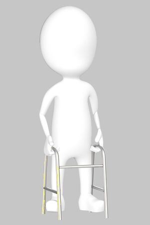 3d white character with cruches -grey background- 3d rendering