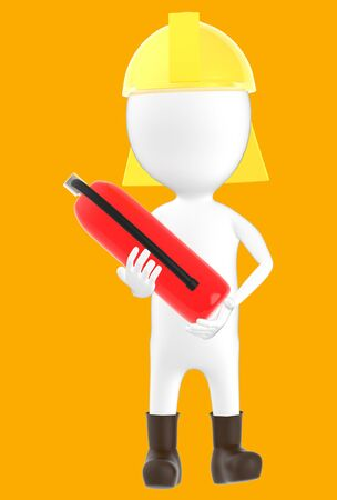 3d white character wearing a safety helmet and holding a fire extinguisher in hand -orange background- 3d rendering