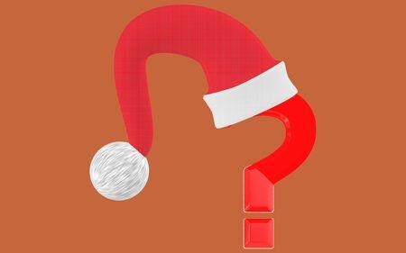 3d question mark and santa cap- brown  background - 3d rendering Banco de Imagens