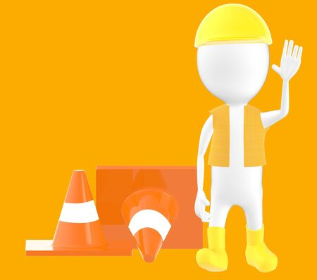 3d white character work men showing stop gesture , traffic cones behind -orange background- 3d rendering Stock Photo