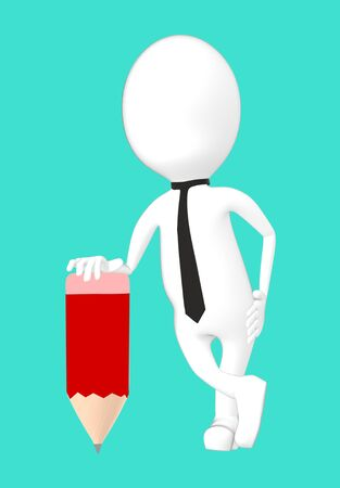 3d white character with a pencil -turquoise background- 3d rendering