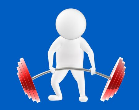 3d character , man is about to lift weights- blue  background - 3d rendering Stock fotó - 134049745