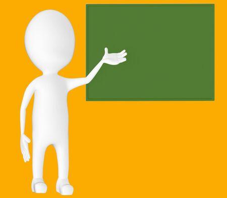 3d white character , explaing,blank board -orange background- 3d rendering