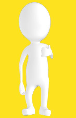 3d white character showing thumbs up hand gesture -yellow background- 3d rendering