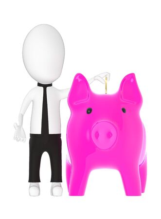 3d character , man inserting coin into piggy bank- 3d rendering