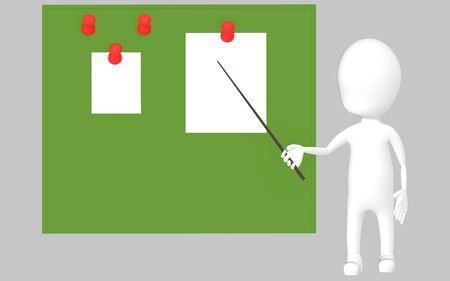 3d white character holding a stick and pointing it towards a green board with pinned papers -grey background- 3d rendering