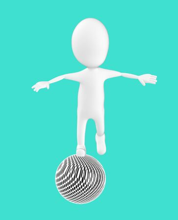 3d white character , balancing on a ball -turquoise background- 3d rendering Stock fotó