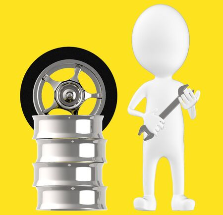 3d white character , holding wrench standing near to tyre rim -yellow background- 3d rendering Imagens - 134049778