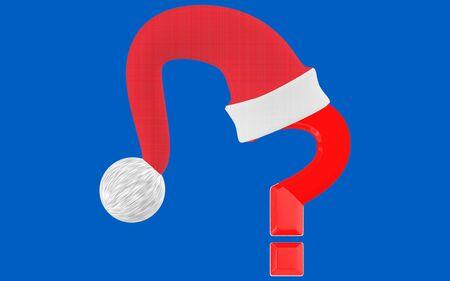 3d question mark and santa cap- blue  background - 3d rendering
