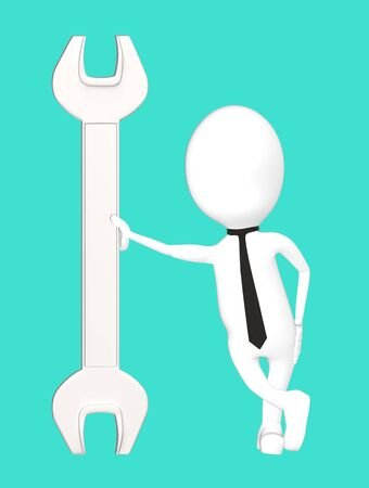 3d white character leading his hand towards a wrench-turquoise background- 3d rendering Imagens - 134049792
