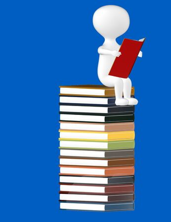 3d character , man reading book sitting over top of a pile of books- blue  background - 3d rendering