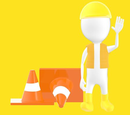 3d white character work men showing stop gesture , traffic cones behind -yellow background- 3d rendering Imagens - 134049802