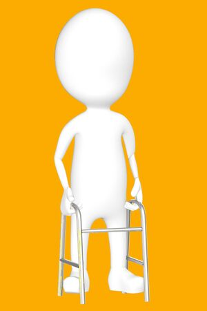 3d white character with cruches -orange background- 3d rendering Imagens - 134049805