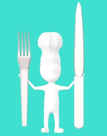 3d white character , chef with a fork and knife -turquoise background- 3d rendering