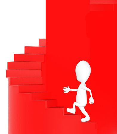 3d character , man walking up stairs- 3d rendering