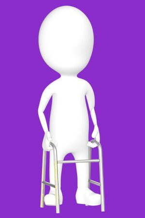3d white character with cruches -purple background- 3d rendering Imagens - 134049916