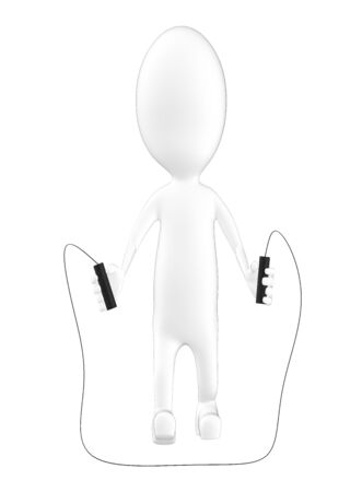 3d character , man skipping rope- 3d rendering