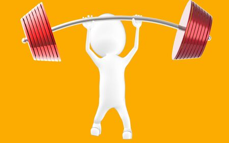 3d white character lifting weights -3d rendering Stock fotó - 134049945