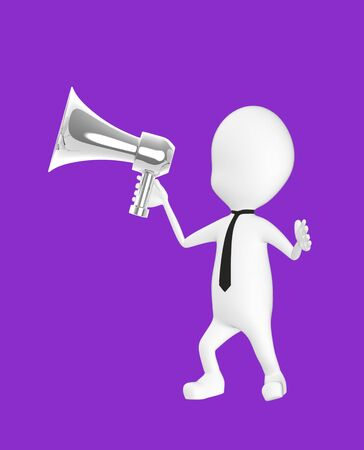 3d white character holding a loud speaker -purple background- 3d rendering