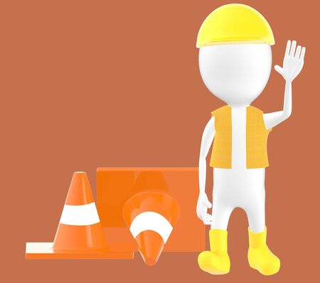3d white character work men showing stop gesture , traffic cones behind -brown background- 3d rendering Imagens - 134049948