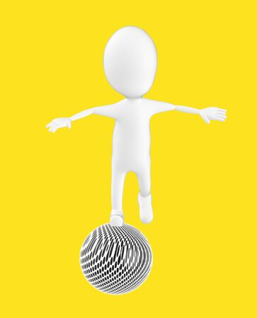 3d white character , balancing on a ball -yellow background- 3d rendering