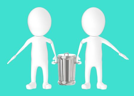 3d white character - two character carrying recycle bin -turquoise background- 3d rendering