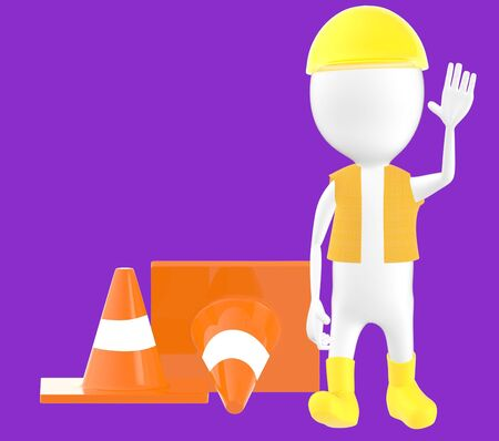 3d white character work men showing stop gesture , traffic cones behind -purple background- 3d rendering Stock Photo