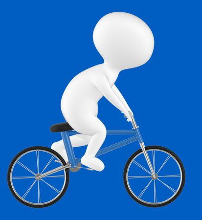 3d character , man riding bicycle- blue  background - 3d rendering Stock Photo