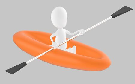 3d white character , rowing a boat -grey background- 3d rendering 스톡 콘텐츠