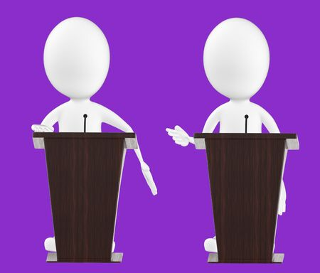 3d white character , character in a podium -purple background- 3d rendering Zdjęcie Seryjne