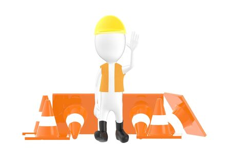 3d character , man worker , officer showing stop gesture while standing near to traffic cones- 3d rendering