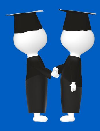 3d character , man gruaduated character handshaking each other- blue  background - 3d rendering