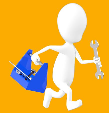 3d white character holding a toolkit and a wrench in his hands and running -orange background- 3d rendering Imagens - 134050034