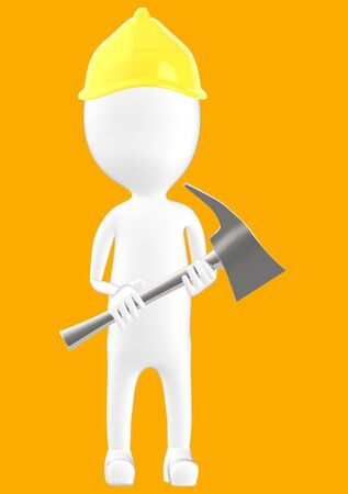 3d white character man wearing safety helmet and holding a axe -orange background- 3d rendering
