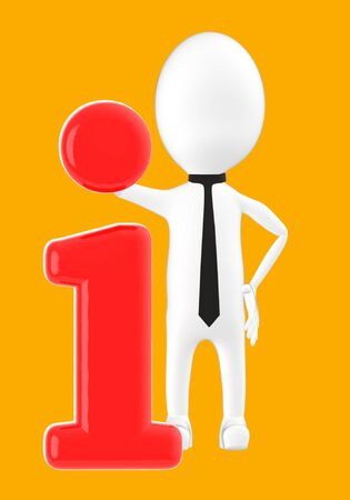 3d white character leaning on information icon -orange background- 3d rendering 写真素材