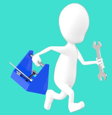 3d white character holding a toolkit and a wrench in his hands and running -turquoise background- 3d rendering Imagens