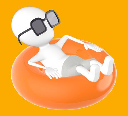 3d yellow charaecter on float , relaxing wearing sunglass -orange background- 3d rendering