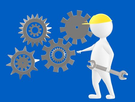 3d character , man worker wearing safety cap and standing near to a different cog wheels- blue  background - 3d rendering Imagens - 134050073