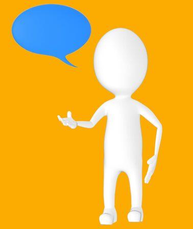 3d white character, speech bubble -orange background- 3d rendering