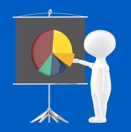 3d character , man , presentation board and pie chart- blue  background - 3d rendering