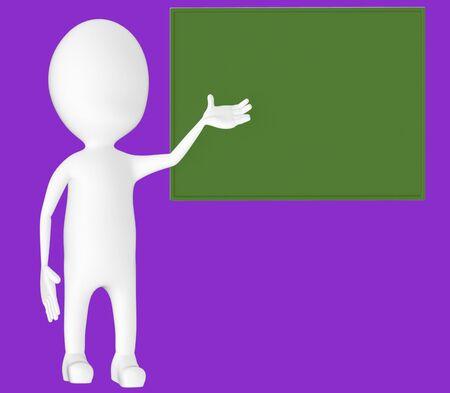 3d white character , explaing,blank board -purple background- 3d rendering