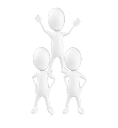 3d character , man characters standing in pyramid shape- 3d rendering